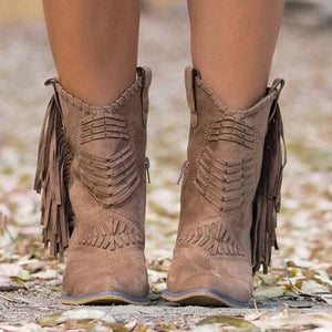New Boho Flock Leather Women Boots Fringe Flat Heels Woman Med High Solid Boots Woman Tassel Botas Mujer Botte Femme