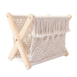 2021 New Nordic Cotton Woven Storage Basket Boho Macrame Magazine Rack Desktop Book Shelf Photo Prop freeshipping - herfreespirit