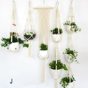 Macrame Flower Pot Woven Basket Net Bag Long Plant Fresh Home Garden Woven Hanging Basket Boho Decor Plant Flower Pot Net Bag