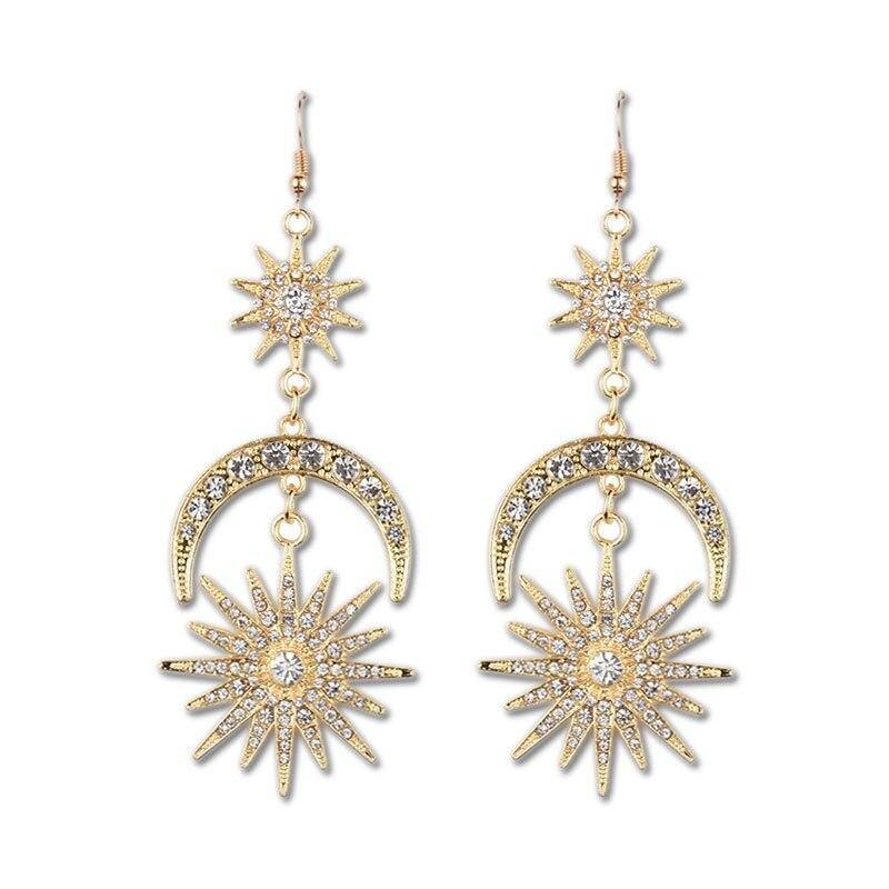 Sun Moon Stars Big Luxury Drop Earrings Rhinestone Women Boho 2020 Jewelry - herfreespirit