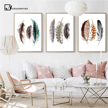 Load image into Gallery viewer, Watercolor Feathers Abstract Poster Canvas Prints Minimalist Wall Art Painting Decorative Picture for Living Room Nordic Style freeshipping - herfreespirit