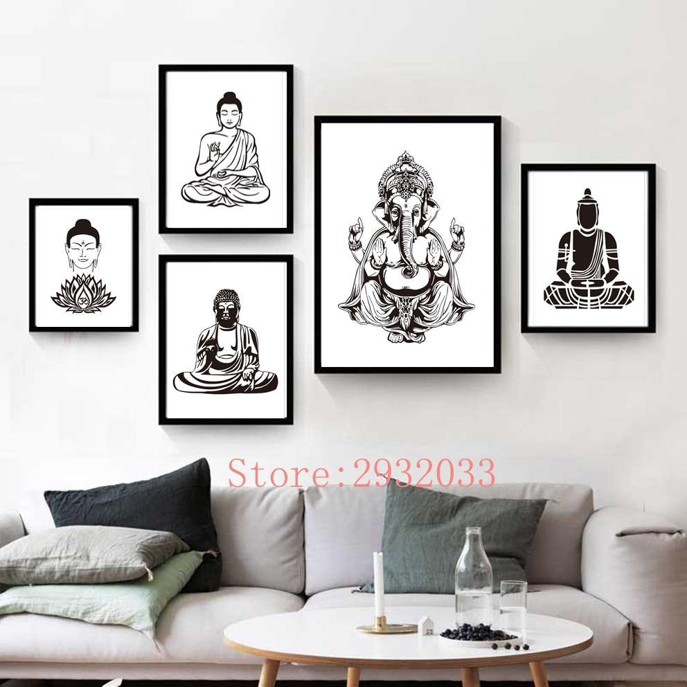Lotus Flower Yoga Buddha Art Canvas Painting Wall Art Buddha Poster Print Pictures For Living Room Home Decoration No Frame freeshipping - herfreespirit