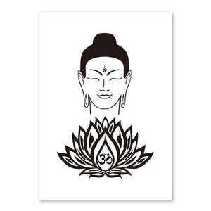 Lotus Flower Yoga Buddha Art Canvas Painting Wall Art Buddha Poster Print Pictures For Living Room Home Decoration No Frame