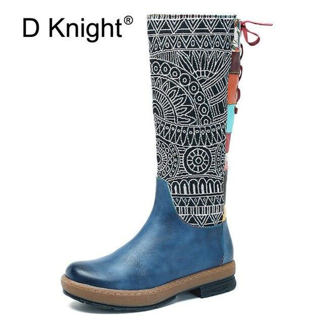 2019 New Fashion Handmade Genuine Leather Women's Boots Boho Zip Lace Women Knee High Boots Top Quality Winter Spring Shoe Women freeshipping - herfreespirit