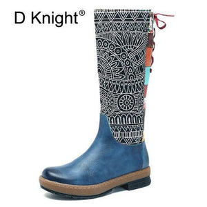 2019 New Fashion Handmade Genuine Leather Women's Boots Boho Zip Lace Women Knee High Boots Top Quality Winter Spring Shoe Women