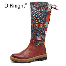 Load image into Gallery viewer, 2019 New Fashion Handmade Genuine Leather Women's Boots Boho Zip Lace Women Knee High Boots Top Quality Winter Spring Shoe Women