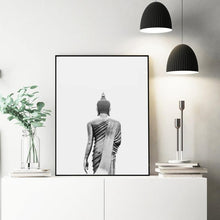 Load image into Gallery viewer, Buddha Wall Art Canvas Painting Modern Boho Decor Black and White Buddha Statue Vertical Yoga Poster and Print Wall Picture