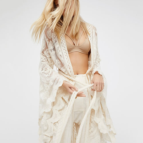 Bohemian White Lace Long Kimono Cardigan For Women Female Flare Sleeve Sexy Shirt Tops Beach Clothes Boho Blouses Outwear Cover freeshipping - herfreespirit