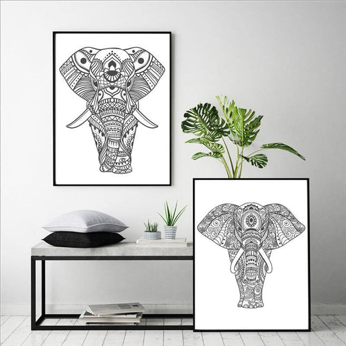 Hand Drawn Yoga Elephant Posters Canvas Prints Home Decoration , Elephant Silhouette Animal Posters Wall Pictures Art Prainting freeshipping - herfreespirit