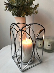 Beautiful Silver Metal Lantern Glass Candle Holder
