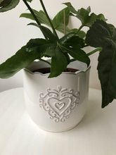 Load image into Gallery viewer, Embossed Heart Ceramic Pot 2 Sizes