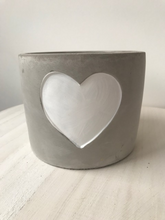Load image into Gallery viewer, WHITE HEART CEMENT PLANTER, LARGE & MEDIUM