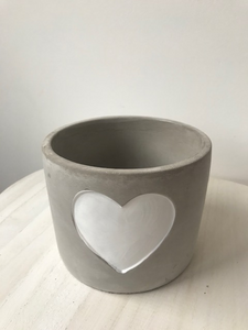 WHITE HEART CEMENT PLANTER, LARGE & MEDIUM