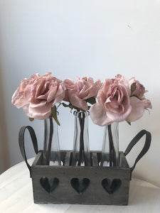 Triple Bud Vases in Wooden Heart Tray