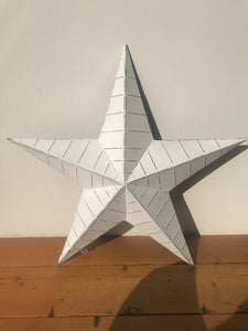 Large White Metal Ridged Barn Star 52cm