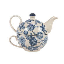 Load image into Gallery viewer, Blue Floral Tea For One - Tea Pot & Cup Set