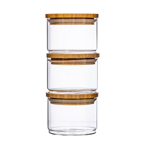 Stacking Glass Storage Jars - Set of 3
