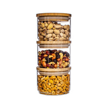 Load image into Gallery viewer, Stacking Glass Storage Jars - Set of 3