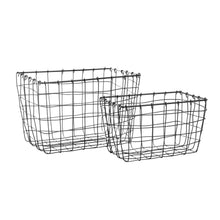 Load image into Gallery viewer, Industrial Wire Baskets Dark Grey - Set of 2
