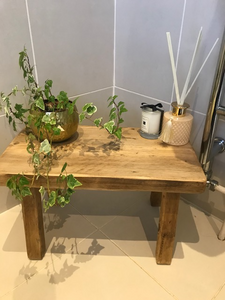 Handmade reclaimed small wooden stool / side table