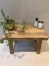 Load image into Gallery viewer, Handmade reclaimed small wooden stool / side table