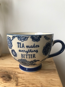 BLUE WILLOW FLORAL MUG