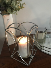 Load image into Gallery viewer, Beautiful Silver Metal Lantern Glass Candle Holder