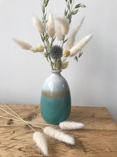 Load image into Gallery viewer, Dip Glazed Ombre Turquoise Bud Vase 12cm