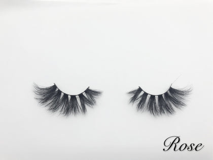 Glamour Volume Round Shape Fluffy Natural Mink Eyelashes-Rose
