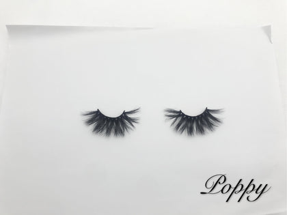 Glamour Volume Round Shape Fluffy Natural Mink Eyelashes-Poppy