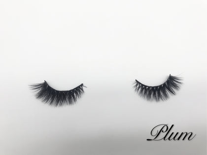 Glamour Volume Round Shape Fluffy Natural Mink Eyelashes-Plum