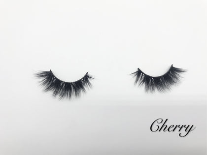 Glamour Volume Round Shape Fluffy Natural Mink Eyelashes-Cherry