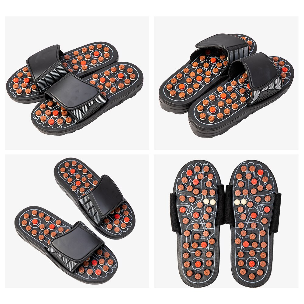 Reflexology Sandals Foot Massager Slippers Acupressure Acupuncture Shoes TaiChi Rotary elastic massage