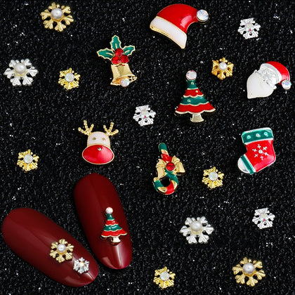 9 Designs Christmas Tree sock snowflake Nail Art Decorations Alloy Metal DIY 3D Nail Rhinestones Accessories Jewelry Tools