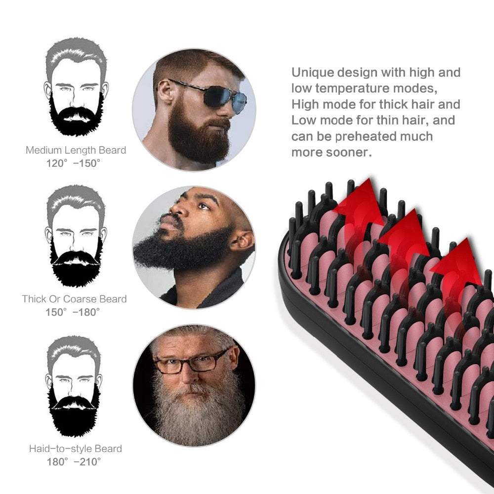 Beard Straightener for Men Professional Hair Comb Brush