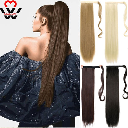 women Long straight Real Natural Ponytail Clip in Pony tail Hair Extensions Wrap Around on Synthetic Hair Piece