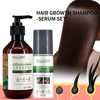 Anti hair loss shampoo and herbal growth tonic essence set for oily fall baldness regrowth alopecia treatment