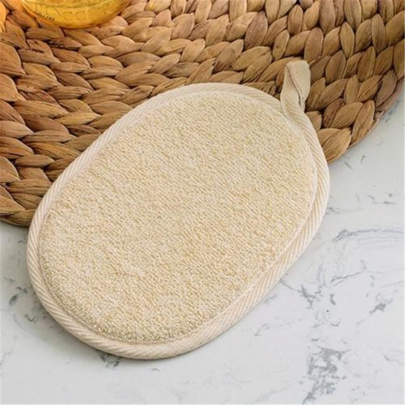 Round Natural Bristle Body Brush Loofah Effective Exfoliating Bath Brush Massage Shower Loofah Sponge Scrub