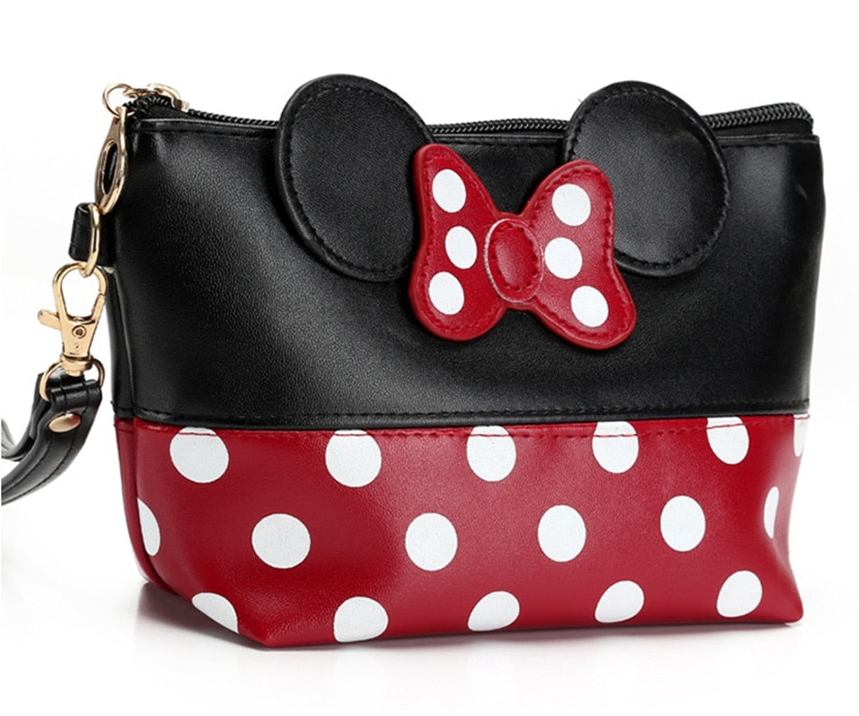 Cartoon Bow Makeup Case Women Zipper Hand Holding Make Up Handbag