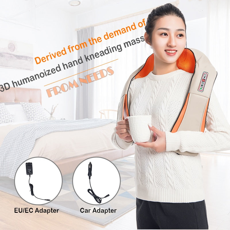 U Shape Electrical Shiatsu Back Neck Shoulder Body Massager Infrared Heated 4D Kneading