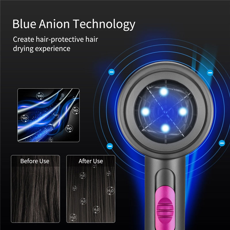 220V Professional Hair Dryer With Negative Ion Blue light 2000W