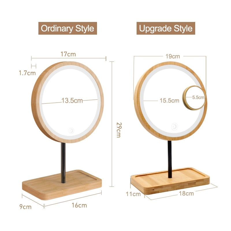 Wooden Desktop LED Makeup Mirror Magnifying USB Charging Adjustable Bright Diffused Light Touch Screen Beauty Mirrors