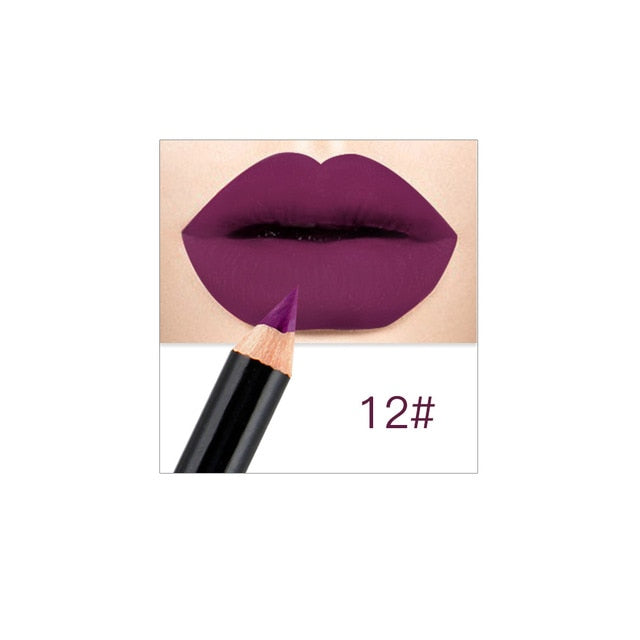 12 Colors Matte Lip Liner Long Lasting Pigments Waterproof