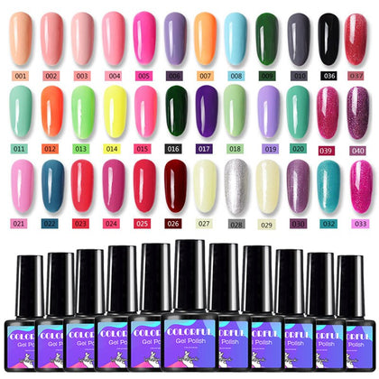 Gel Nail Polish Base And Top Coat Soak Off 80 Colors Glitter Gellak Kit Vernis Semi Permanant UV Avec Lampe Gel Varnish