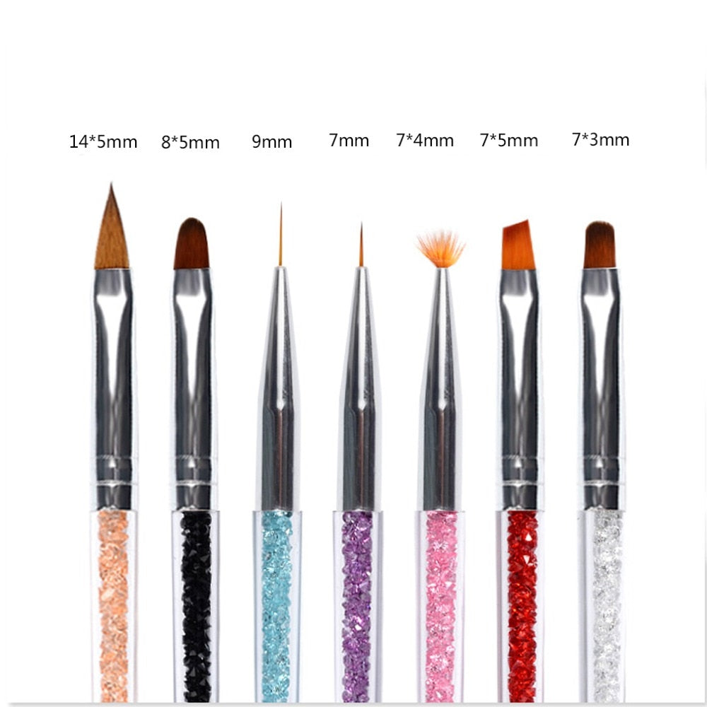 Nail Art Line Flower Painting Coating Shaping Flat Fan Angle Brush Acrylic UV GEL Extension Builder Drawing Pen