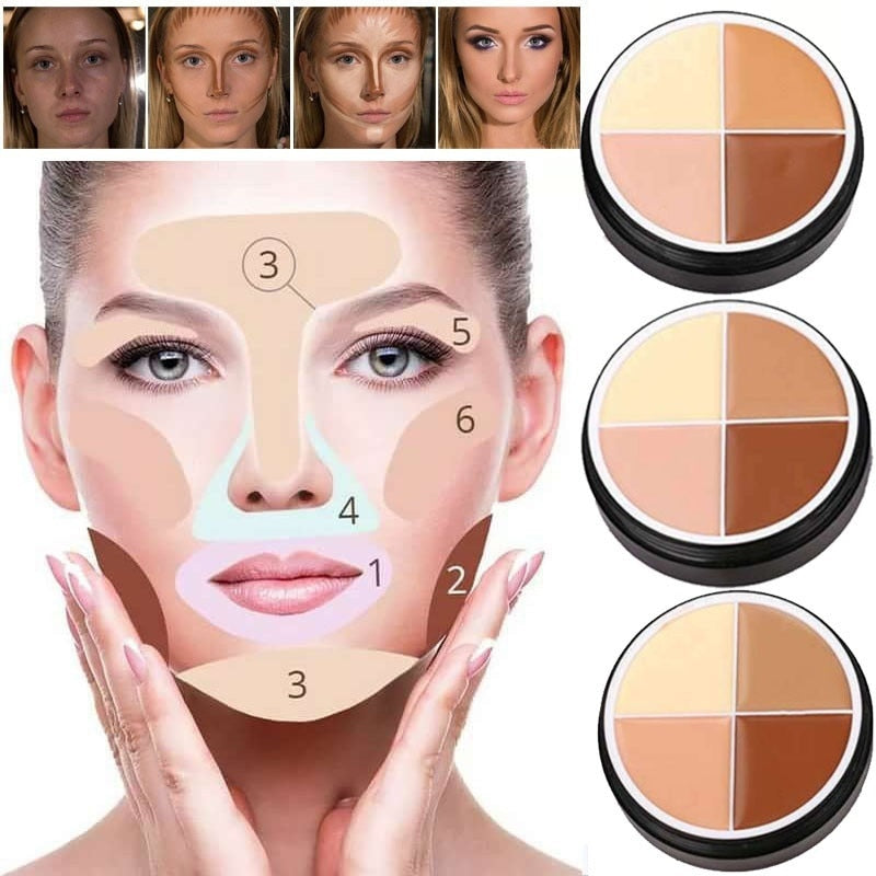 4 Colors Face Makeup Concealer Oil Control