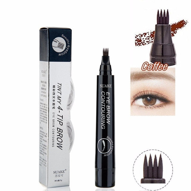hot! Waterproof Four-claw Eye Brow Tint Fork Tip Eyebrow Tattoo Pencil Long Lasting