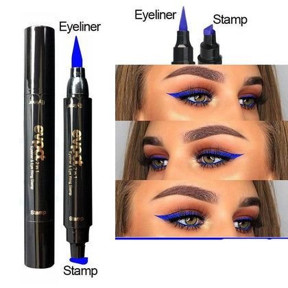 Double-Headed Seal Black Blue Eyeliner Triangle Seal Eyeliner 2-1 Waterproof Eyeliner Stamp Contouring Makeup