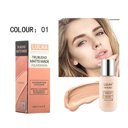 Matte Foundation Soft Long Wear Oil Control Concealer Liquid Foundation Face Base Makeup