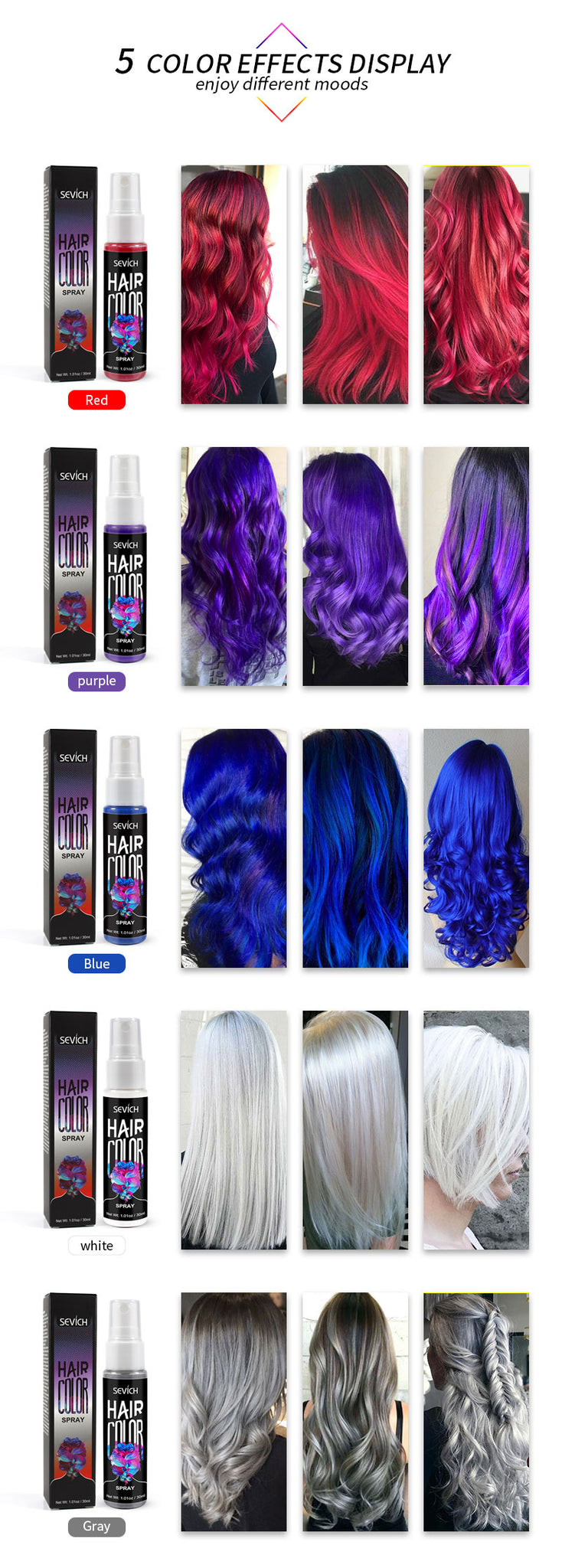 Hair Color Spray Instant  Styling Product One-time Hair Dry Color Fashion Beauty Makeup